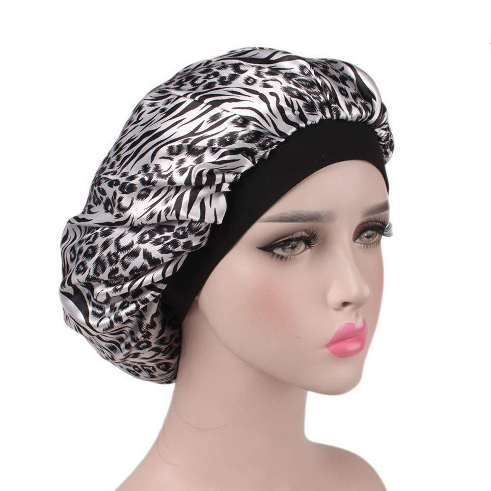Satin Sleeping Cap Salon Bonnet Night Hat Hair Loss Chemo Caps for Women B-B0195-Rose flower