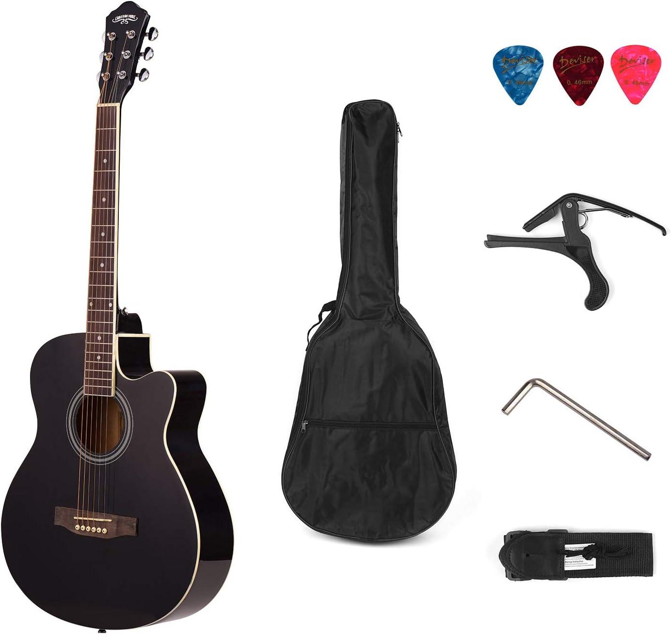 Muslady 40 pulgadas Cutaway Guitarra Folk Acústica 6 Cuerdas Basswood con Correa Gig Bag Capo Picks