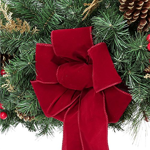 Home Accents Holiday 17 ft. Unlit Artificial Christmas Garland, Beautifully Decorated with Fabric Poinsettia, Red Berries, Gold Glitter Cedar Sprigs, Pinecones and Bow Center Accent by Home Accents Holiday (Image #1)