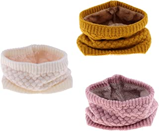 F Fityle 3 Pezzi di Autunno Inverno Unisex Sciarpe Invernali Morbido Caldo Scaldino - Giallo