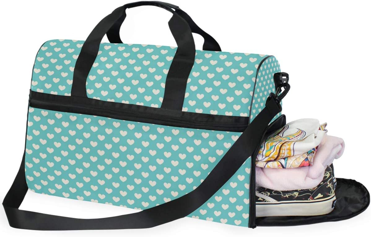 FAJRO Duffle Bag for Women Men White Heart Shape Travel Duffel Bag Large Size Water-proof Tear Resistant