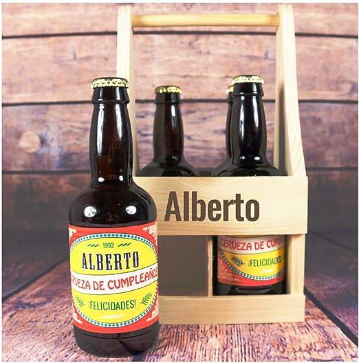 Pack de cervezas personalizadas para cumpleaños en estuche de madera también personalizado: Amazon.es: Alimentación y bebidas