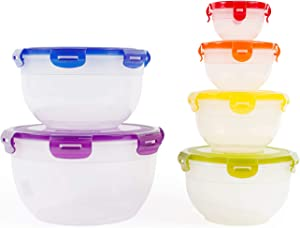 Neoflam Food Storage Plastic Bowls with Lids, 12 Piece Set - Kitchen Foundations, Nestable, Stackable, BPA-Free, Snap Lock, Airtight, Rainbow, Mixing, Food Prep, Containers