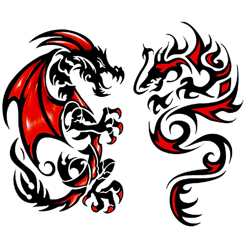 Oottati 2 Sheets Black Red Dragon Totem Couple Arm Temporary Tattoo