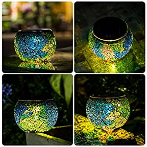 Solar Mosaic Table Lights Kinna 2 Pack Solar Glass Ball Table Lamp Waterproof for Home, Garden, Patio Decoration Warm White,Style2