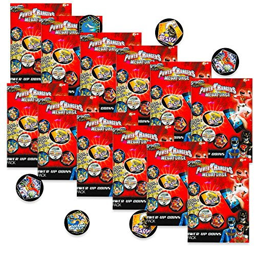 Power Rangers Party Favors Set - 12 Megaforce Power Coins Packs (Party Supplies) (Party Favors Set)