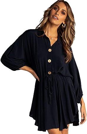 RENJIANFENG Vestido Camisero para Mujer, Vestidos De Verano Vestido De Manga Larga Cuello En V Vestido Casual Botón Abajo Frente Camisa De Túnica Corta Vestidos con Cinturón Camisa De Fiesta,Negro,L: Amazon.es: Hogar