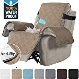 H.VERSAILTEX 100% Waterproof Quilted Recliner Chair Cover Recliner Cover Recliner Slipcover for Living Room, Secure with Elastic Strap and Non Slip Puppy Paw Silicone Backing (Standard, Taupe)