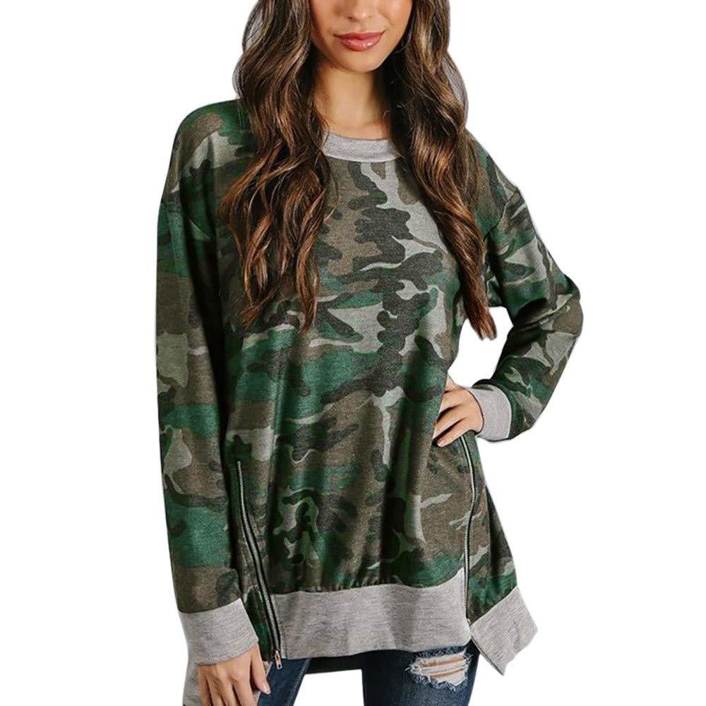 Sannysis Women Autumn Long Sleeve Camouflag Patchwork Sweatshirt Pullover Top Blouse, Multicolor S