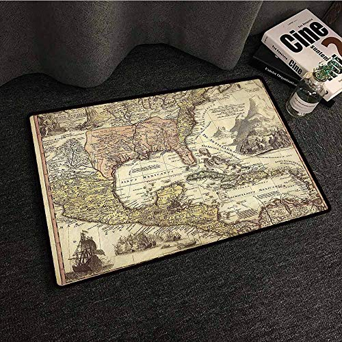 (Wanderlust Decor Collection Entrance Door mat Old Map Mountains Deserts Roads Lands Natural Environment Wartimes Art Easy to Clean W31 xL47 Ivory Cream Brown Tan)