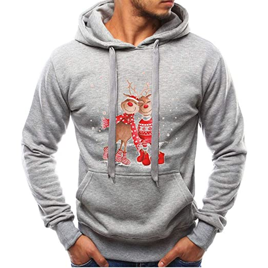 Beautyfine Mens Long Sleeve Sweatshirt Hoodies Autumn Winter Warm Christmas Casual Fashion Tracksuits at Amazon Mens Clothing store: