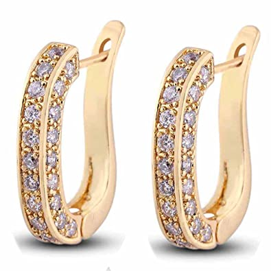 Yazilind Charming Smooth 18K Gold Plated Simple Style Inlay Round Cubic Zirconia Small Hoop Earrings for Women lixNyiOk