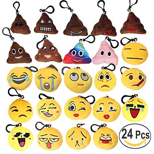 Emoji Keychains Set - Mini Pop Toy Plush Pillows Key Chains - Kids Emoji Party Supplies Favors - Emoticon Cushion Car Key Ring Pendant Keychain Decorations - Funny Backpack Charms Emoji Clips 24 PCS