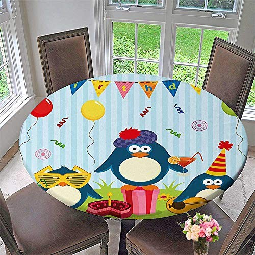 Mikihome Modern Table Cloth Penguin Party withs Cakes and Box and Fern Green Indoor or Outdoor Parties 35.5