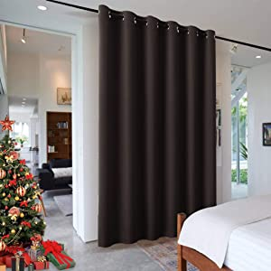 RYB HOME Sliding Glass Door Curtain, Partition Wall Dividers Portable Sunlight Block Soundproof Vertical Blinds for Sliding Glass Door Foyer Living Room Dining Oddice Cafe, 120 x 96 in, Brown