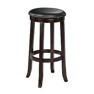 "Espresso Finish Wood 29""H Swivel Bar Stool Counter Chair (Set of 2)"