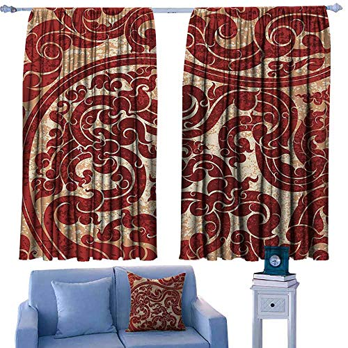 Ruby Hobnail - Mannwarehouse Antique Kids Room Curtains Thai Culture Vector Abstract Background Flower Pattern Wallpaper Design Artwork Print Darkening and Thermal Insulating 55