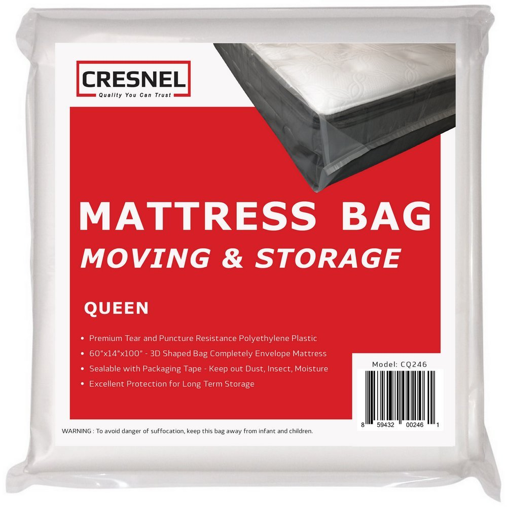 CRESNEL Mattress Bag for Moving & Long-term Storage - QUEEN size - Enhanced mattress protection with Super Thick Tear & Puncture Resistance Polyethylene by CRESNEL