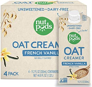 product image for nutpods Oat French Vanilla, (4-Pack), Unsweetened Dairy-Free Creamer, Nut-Free Creamer, Made from Oats, Gluten Free, Non-GMO, Vegan, Kosher