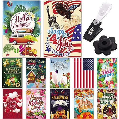 Season Garden Flags - Set of 12 Garden Flags - Double Sided Outdoor Holidays Yard Flags - Made of Polyester with Anti-Wind Clip & Rubber Stopper Included - Holidays Flags for 12 Months - 12