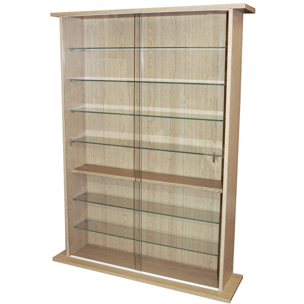 Amazon.com: BOSTON   Glass Collectable Display Cabinet / CD DVD Storage  Shelves   Oak By WATSONS: Kitchen U0026 Dining