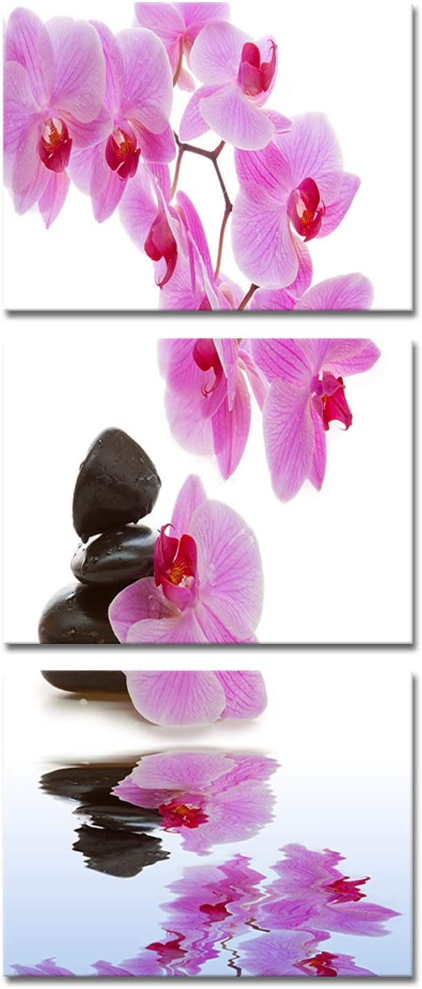 Modern Orchid Flower Painting Wall Art Framed Set of 3 Zen Stones Purple Floral Pictures for Home Living Room Bathroom Spa Decoration Ready to Hang 12x16inchx3pcs