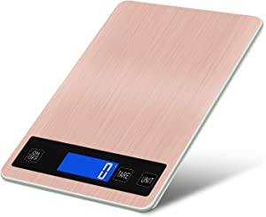 Digital Kitchen Food Scale, 10KG/22lb Rechargeable Stainless Steel Kitchen Scale, 0.04oz/1g High Precision, Touch Sensor, Back-Lit LCD Display Cooking Scale with Tare & Auto Off Function (Rose Gold)