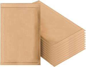 Natural Kraft Bubble mailers 10.5 x 15 Brown Padded envelopes 10 1/2 x 15 by Amiff. Pack of 10 Kraft Paper Cushion envelopes. Exterior Size 11.5 x 15.5. Peel and Seal. Mailing, Shipping.