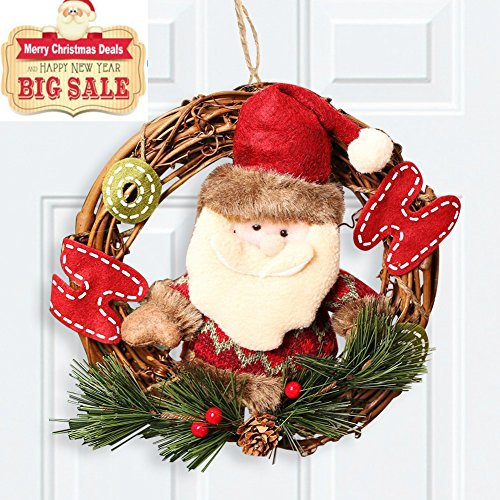 Codream Santa Claus Large Wreath Door Hanger for Holiday Festive Home Cute Rattan Personalized Christmas Ornaments 8x14inch