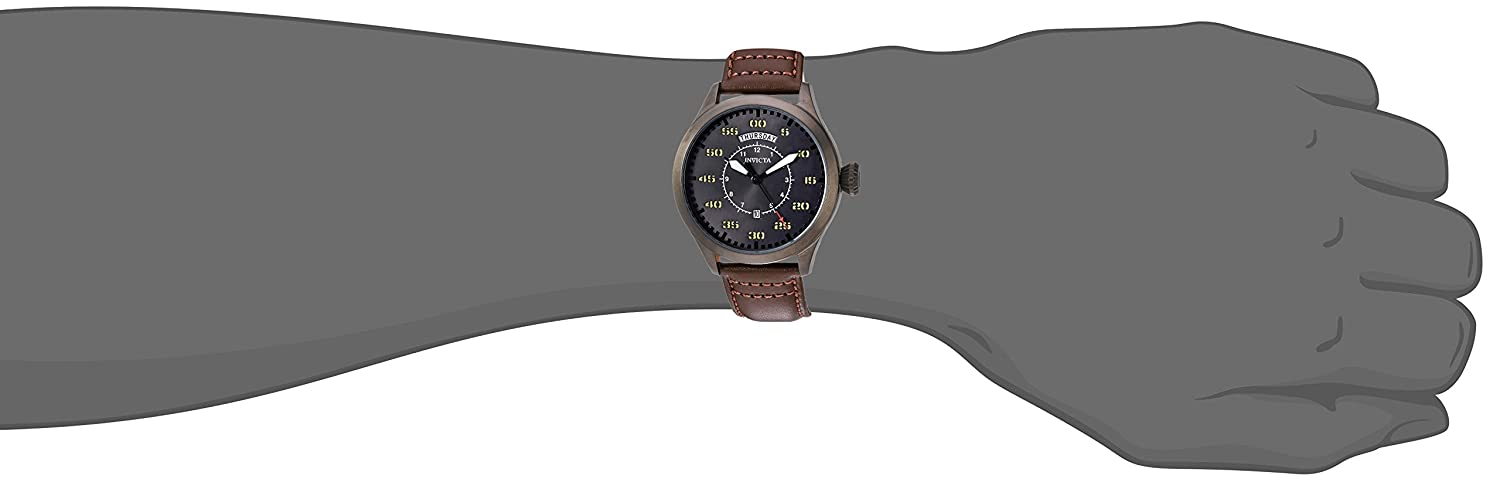 Amazon.com: Invicta Men's 'Aviator' Quartz Stainless Steel and Leather  Casual Watch, Color:Brown (Model: 22975): Watches