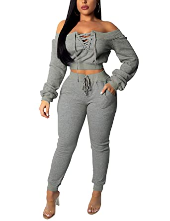 32ee55e08688 Women's Bandage Lace Up 2 Piece Tracksuit Outfits Off Shoulder Long Sleeve Crop  Top and Sweatpants