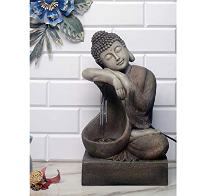 @home by Nilkamal Buddha Windchime Water Fountain, Grey