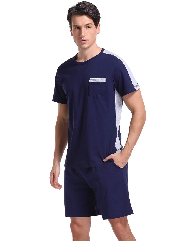 iClosam Mens Short Pyjamas Set Summer Crew Neck Splicing Striped Nightwear Sleepwear Soft Cotton Loungewear PJ Set for Summer S-XXL