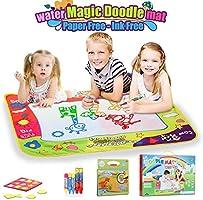 Lenbest Doodle Tappeto Magico, 80cm x 60cm Tappeto Magico ad Acqua con 1 Libro Acquatico Disegno, 5 Pennarelli Magiche e 9 Francobolli - Regali Educativi per i Bambini