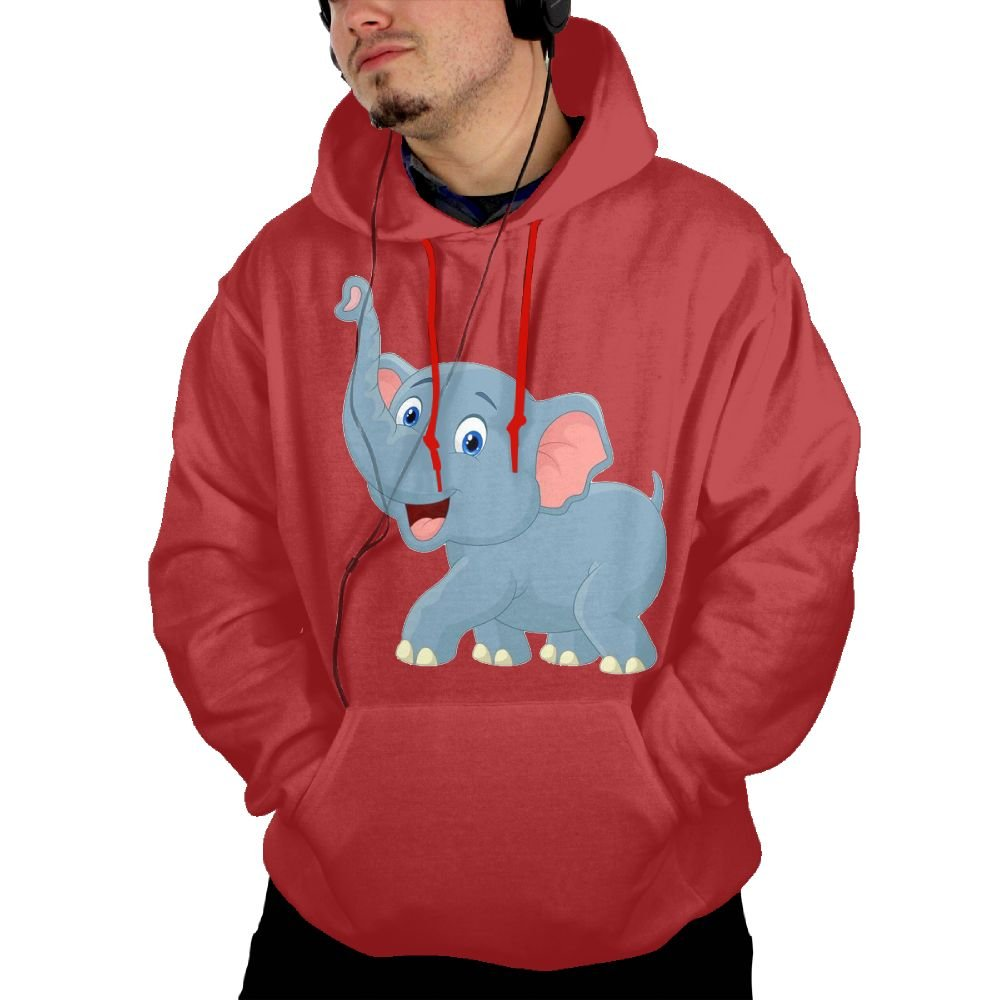 UUE Mens Pullover Hooded Sweatshirt With Pockets Printed Elephant Cartoon Design For Men Boys