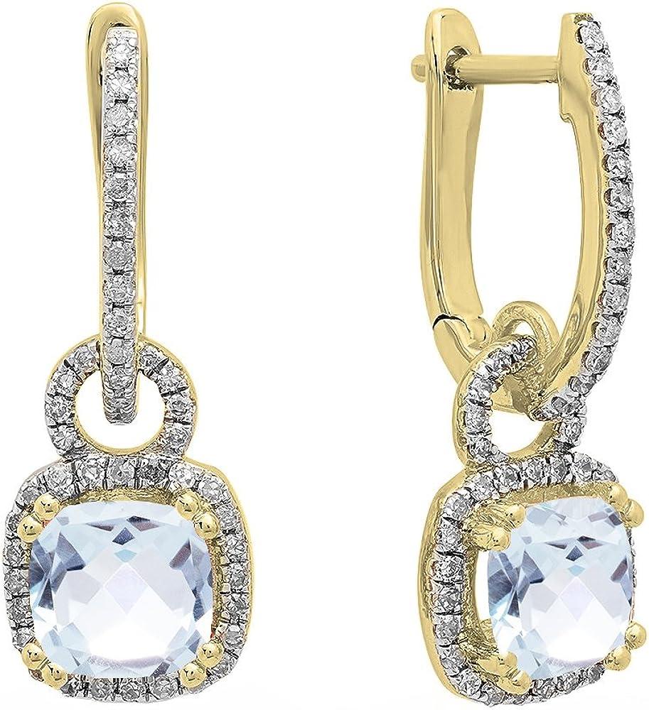 Pendientes colgantes de oro amarillo de 10 quilates de 6 mm cada cojín con piedras preciosas y diamantes blancos redondos