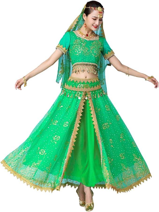Yefree Mujeres Set de 4 Piezas India Baile Folclórico Lentejuelas ...