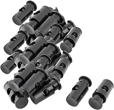 uxcell Plastic Spring Loaded Adjustive Clothes Sliding Cord Lock Stopper 30pcs Black