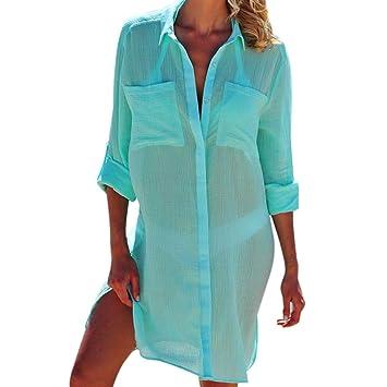 532ec878d7 Womens Beach Dress Swimsuit Bikini Cover Up Robe Tunic Shirt V-Neck Summer  Solid: Amazon.es: Hogar