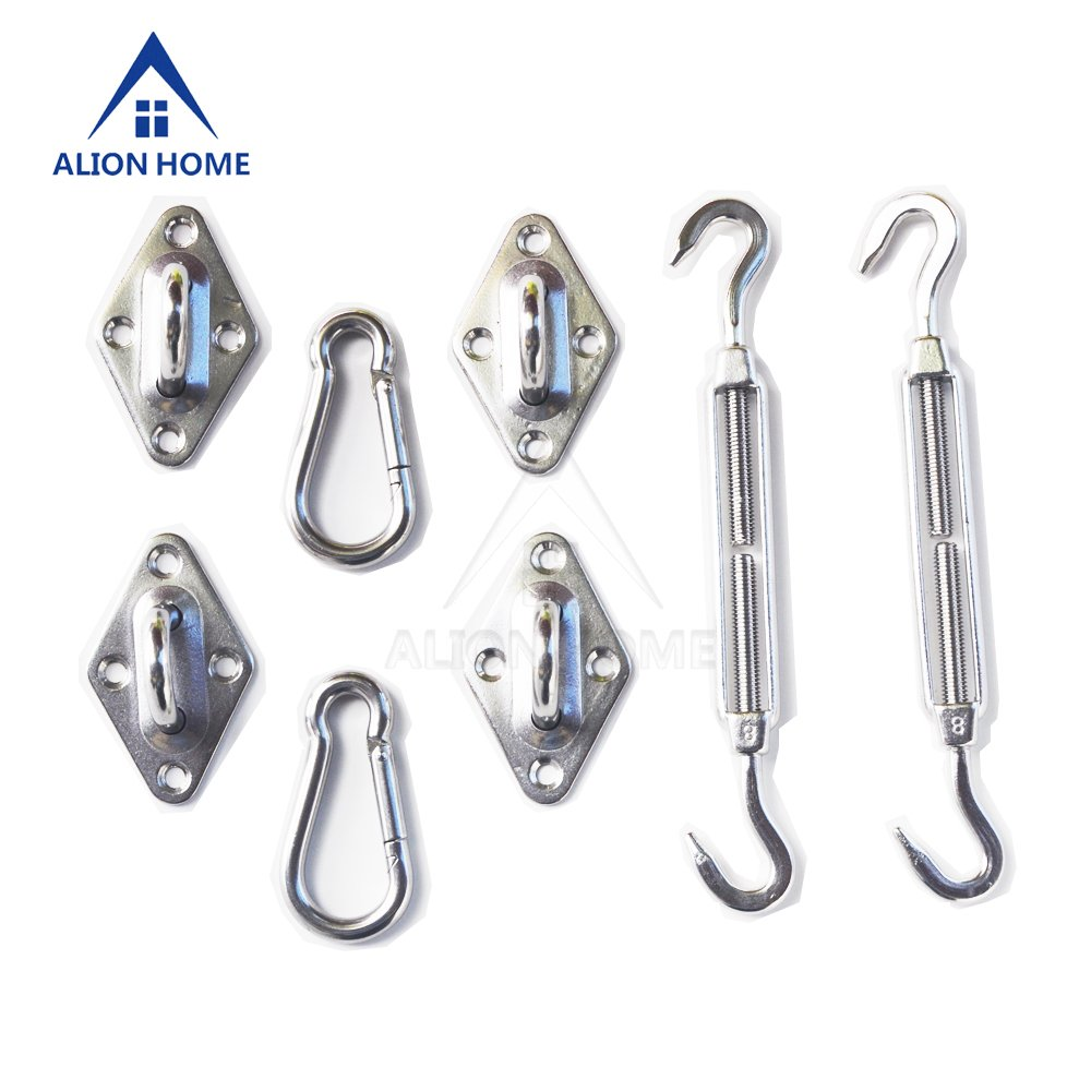 Alion Home Sun Shade Sail Installation Stainless Steel Heavy Duty Hardware Kit for Outdoor (8'' for Rectangle Sails)