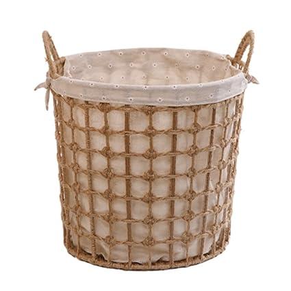Cesta de mimbre tejida a mano cesta de picnic cesta de baño cubo de almacenamiento de