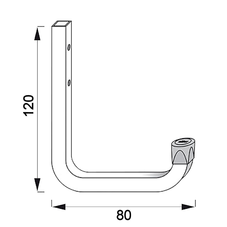 5 x SECOTEC/® Universalhaken verzinkt 80 x 120 mm Belastbarkeit 45 kg Haken f/ür Gartenger/äte