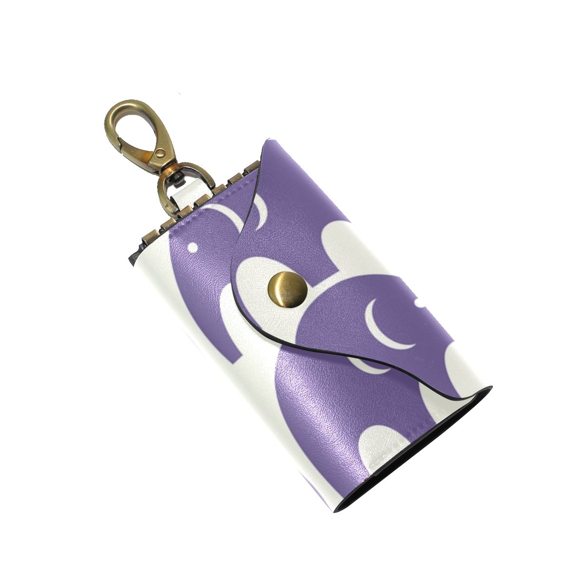 DEYYA Cute Elephant Pattern Leather Key Case Wallets Unisex Keychain Key Holder with 6 Hooks Snap Closure