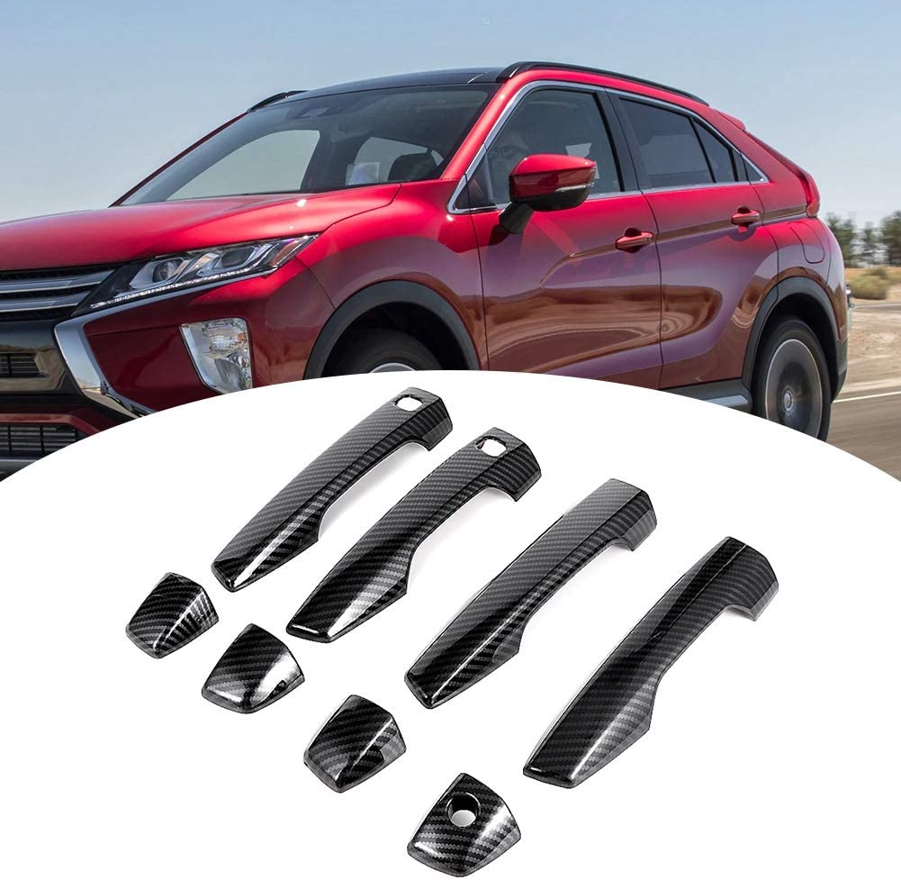 Hlyjoon 8Pcs Car Handle Cover Trims Right Hand Drive Outside Door Handle Cover Trims Carbon Fiber Style Handle Trims Carbon Fiber Style Handle Cover Trims for Eclipse Cross 2017 2018 2019