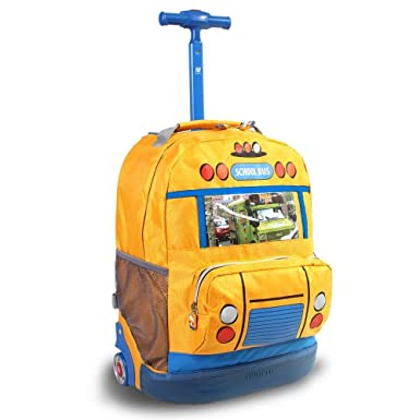Amazon.com | Kids Yellow Blue School Bus Themed Rolling Backpack ...