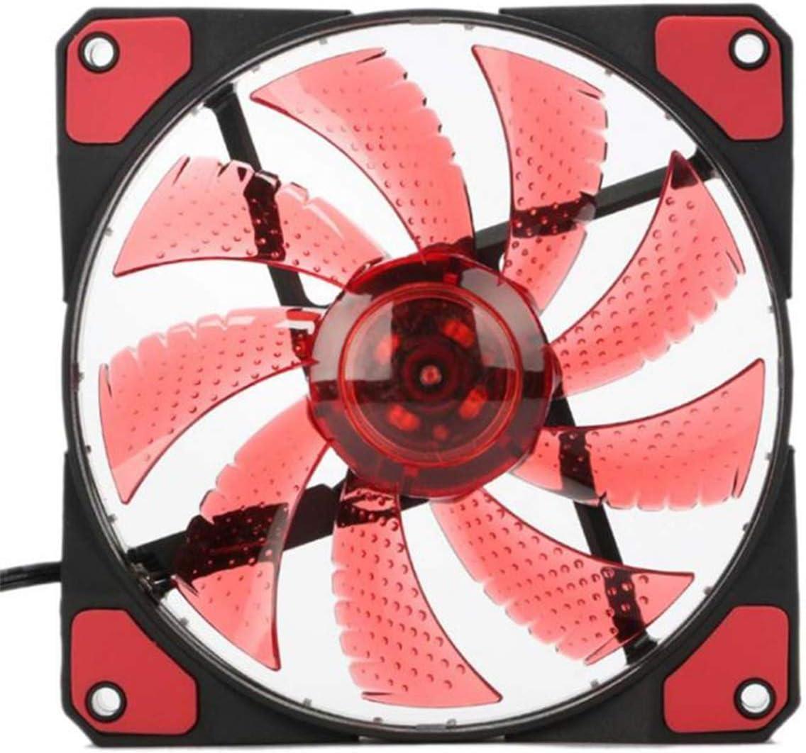 Jinxuny Ordenador PC Disipador de calor Refrigerador Ventilador 15 leds Enfriamiento Antivibración 12cm Los emisores de LED ultra silenciosos se iluminan pueden ser una absorción efectiva de la vibrac