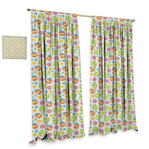 homefeel Easter Room Darkening Wide Curtains Patchwork Style Graphic Scrapbook Pattern with Daisy Sewing Buttons and Egg Figures Drapes for Living Room W84 x L96 Multicolor