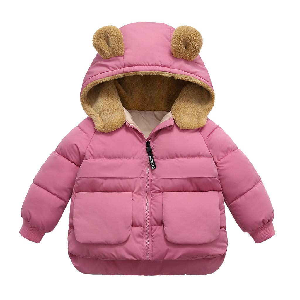 Lataw Toddler Jacket Coat Cute Boys Girl Winter Solid Zipper Hooded Thick Warm Outerwear Kid Clothes Fashion Set by Lataw