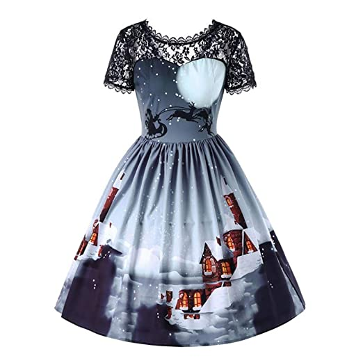 makulas womens short sleeve womens christmas print retro lace chiffon dress party prom swing midi dress