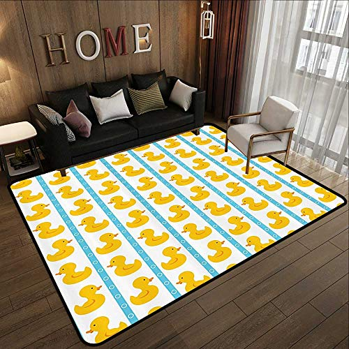 Rugs for Sale,Rubber Duck,Yellow Duckies with Blue Stripes and Small Circles Baby Nursery Play Toys Pattern,Yellow and Blue 78.7